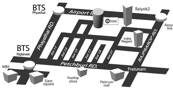 Location Map - Pratunam Hotel - My Hotel Bangkok